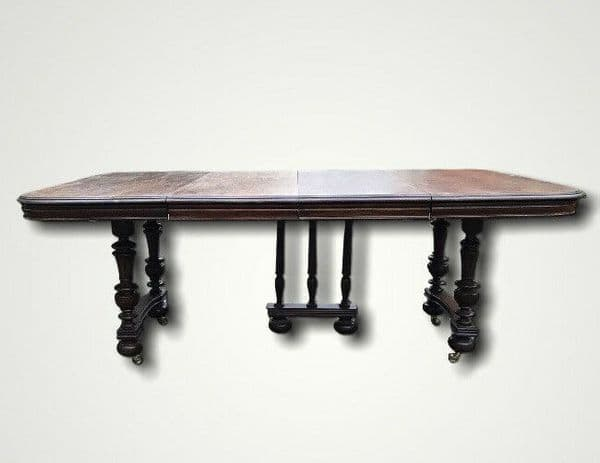 Large Antique Oak French Country Extending Dining Table - Two Leaves Seats 8-10